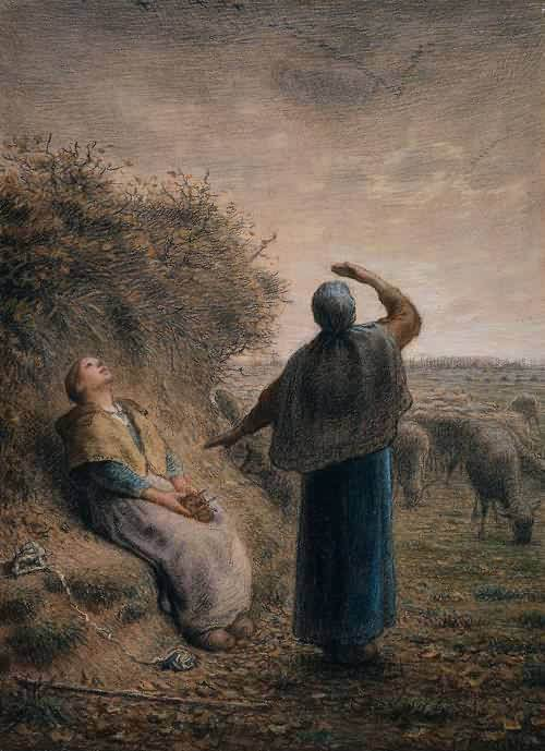 Shepherdesses-Watching-a-Flight-of-Wild-Geese-1866 Jean Francois Millet
