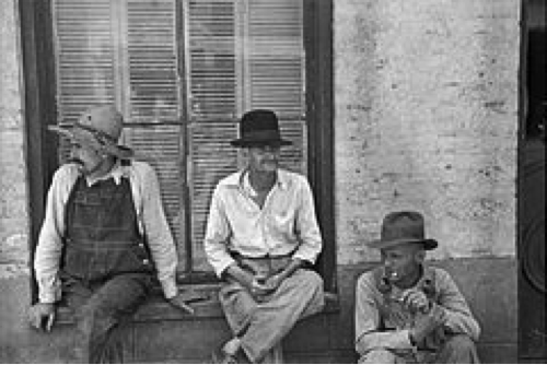 Walker Evans photograph of 3 sharecroppers, Frank Tengle, Bud Fields, and Floyd Burroughs, Alabama, Summer 1936